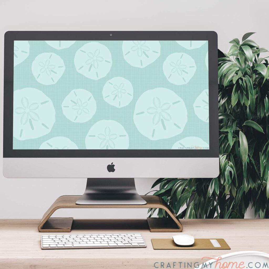 iMac computer with the summer digital wallpaper on the screen sitting on a desk with a plant in the background.