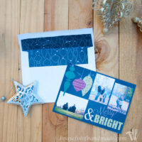 Merry & Bright Christmas card with 3 photos and a matching envelope insert that you can customize for your own Christmas card.
