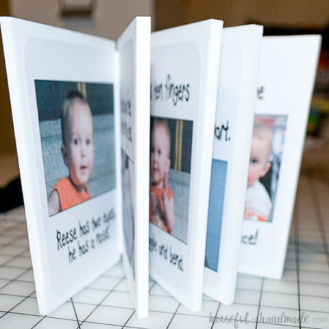 Personalized book for kids made from foam craft sheets open showing the inside pages.
