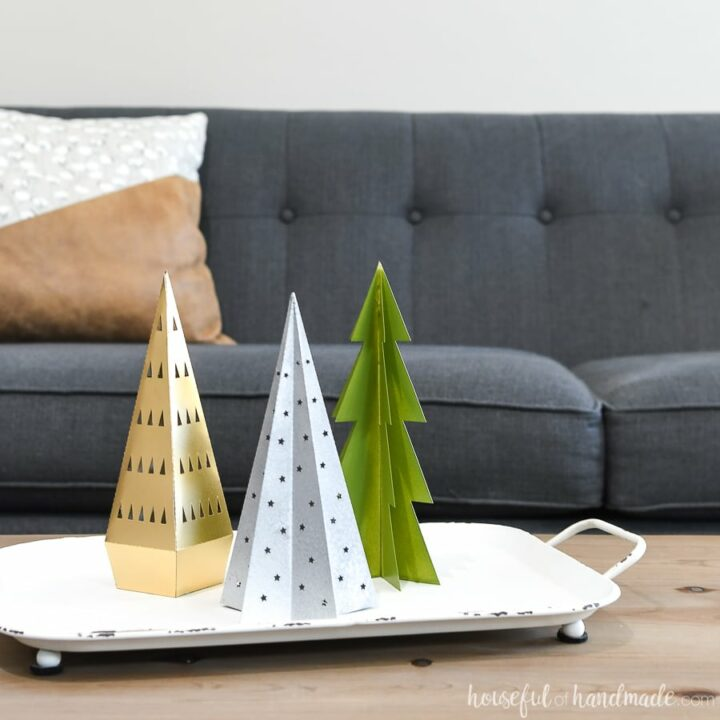 3 paper christmas trees on tray