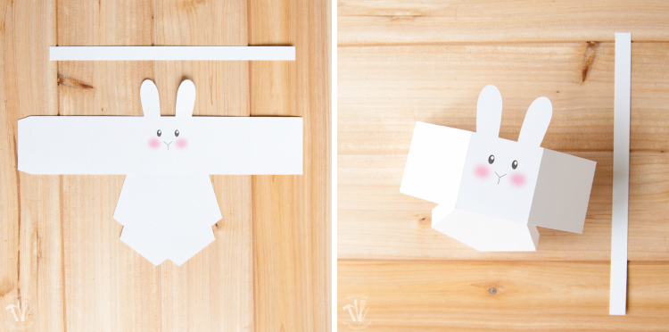The pieces of the bunny basket cut out and folded.