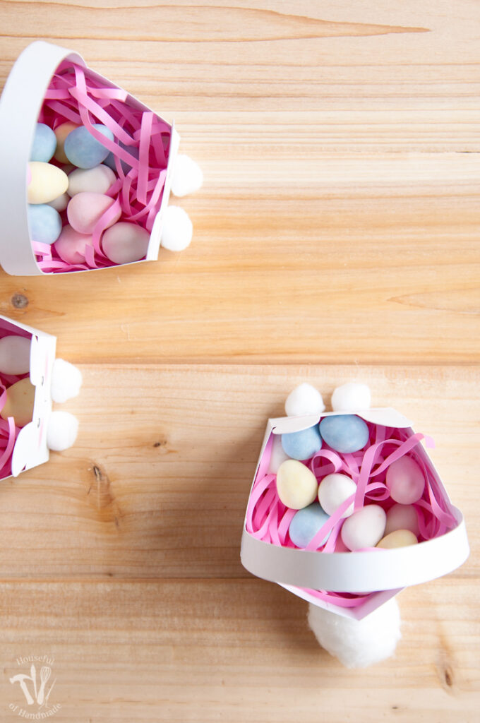 Top down view of the assembled printable bunny Easter baskets.