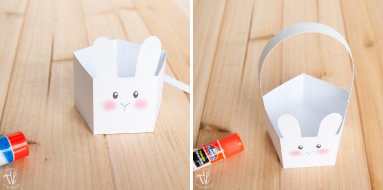 Glueing the pieces of the paper Easter basket together.