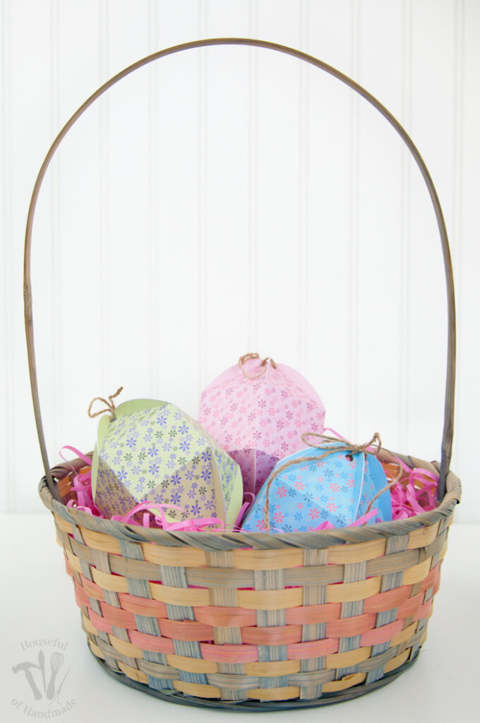 3 diy printable egg shaped boxes in easter basket