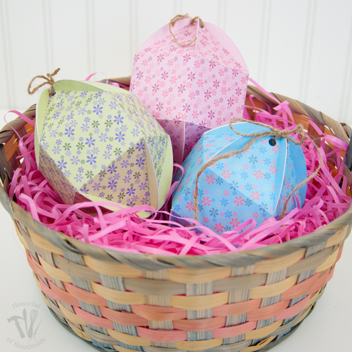 Printable Egg Shaped Boxes set of 3 shown in Easter basket