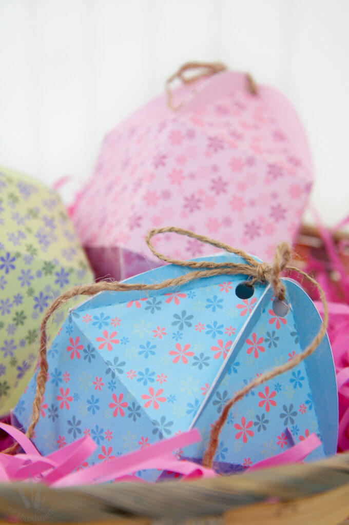 Easter basket with 3 Printable Egg Shaped Boxes
