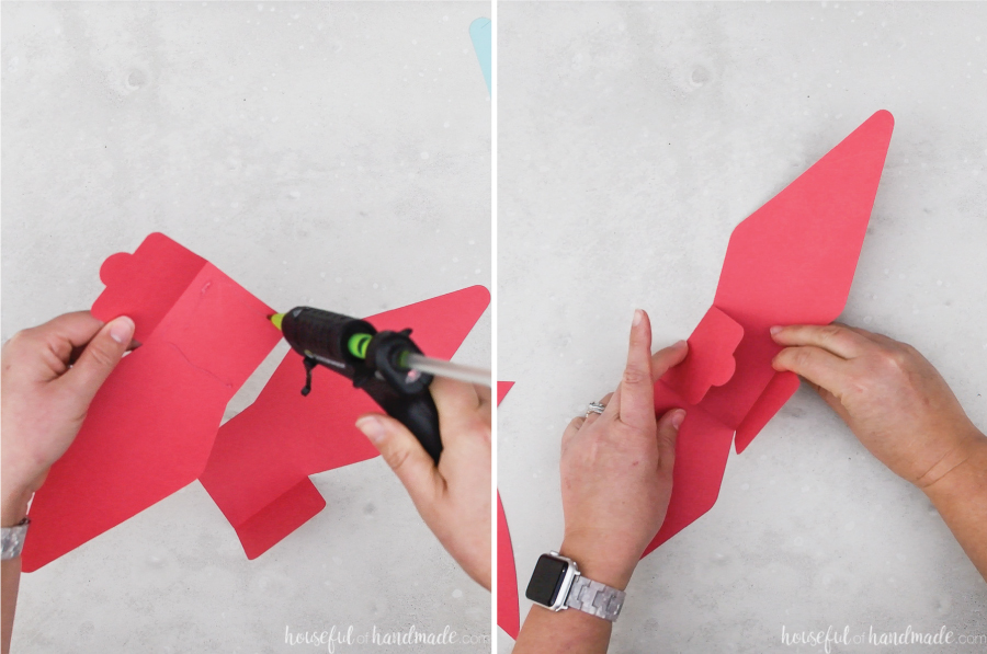 Two pictures showing the glue being added to the center bow section and the two pieces being glued together.