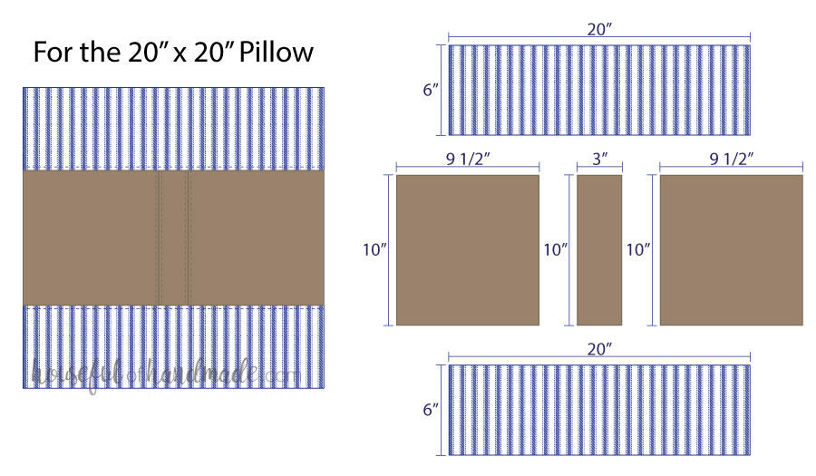 Illustrations for cutting pieces for a center stripe decorative leather pillow cover.