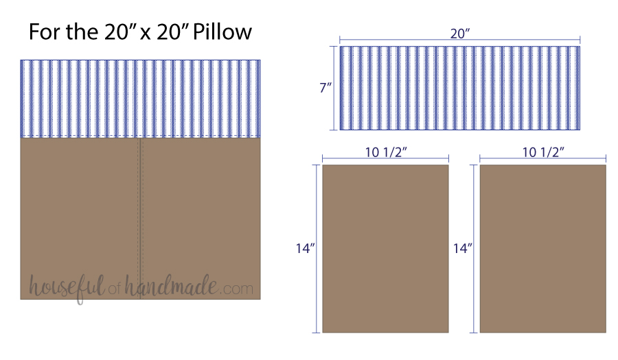 Illustrations for cutting pieces for a color block decorative leather pillow cover.