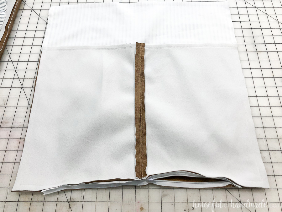 Two pieces of the DIY pillow cover sewn together.