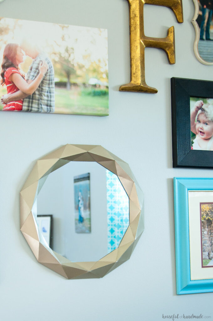 easy DIY anthropologie mirror hanging on gallery wall