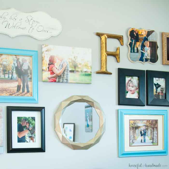 Gallery wall with diy Anthropologie paper mirror