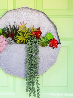 paper wall planter with succulents on green door