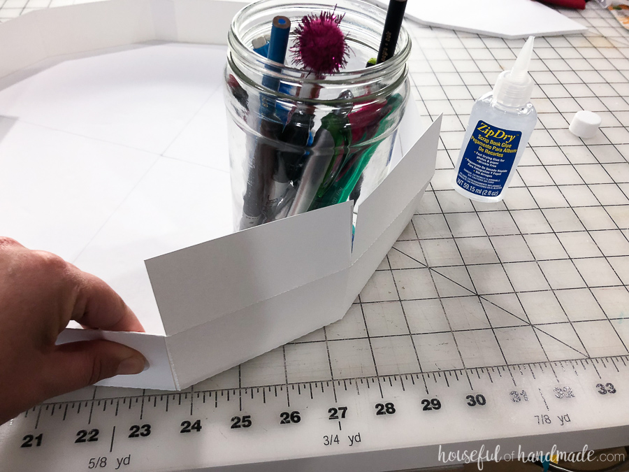 paper wrapped around mason jar for measurements