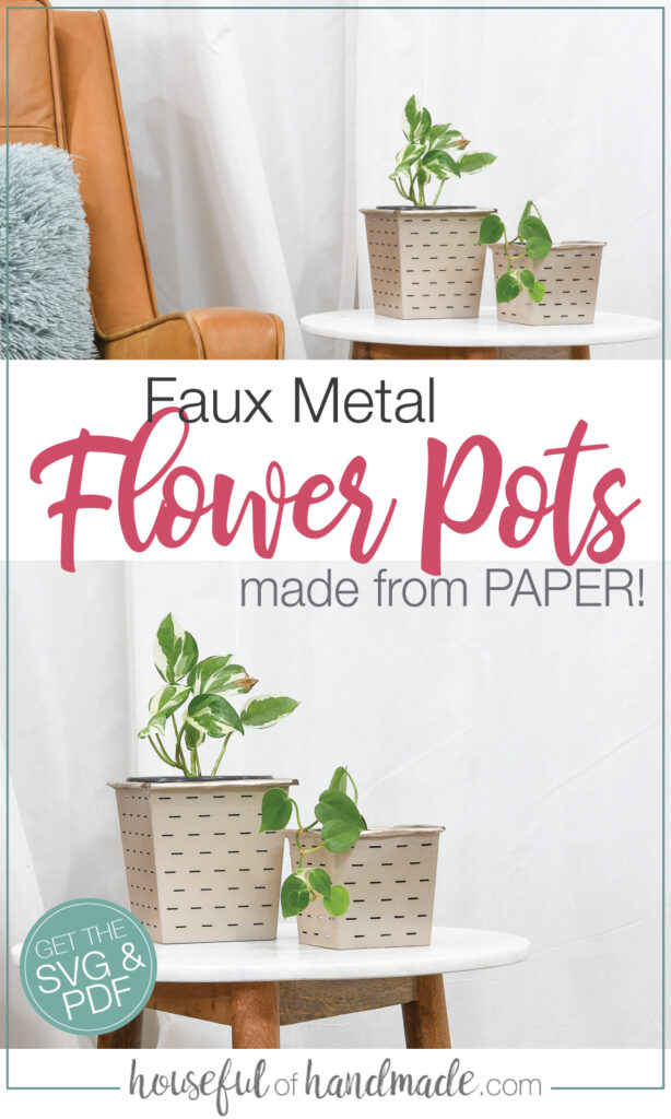 Two pictures of the faux metal flower pots on a table with plants inside.