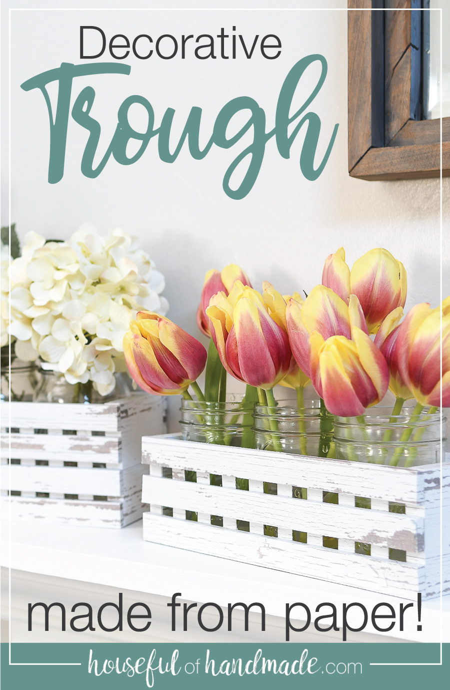 Farmhouse trough decor with flowers inside and text overlay.