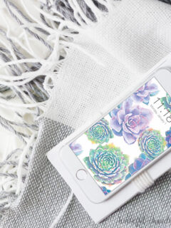 White iphone with the free digital wallpaper for January made of watercolor succulents on the screen.