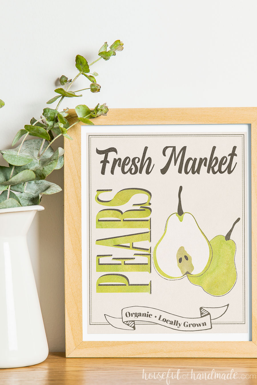 8x10 printable fall sign with pears.