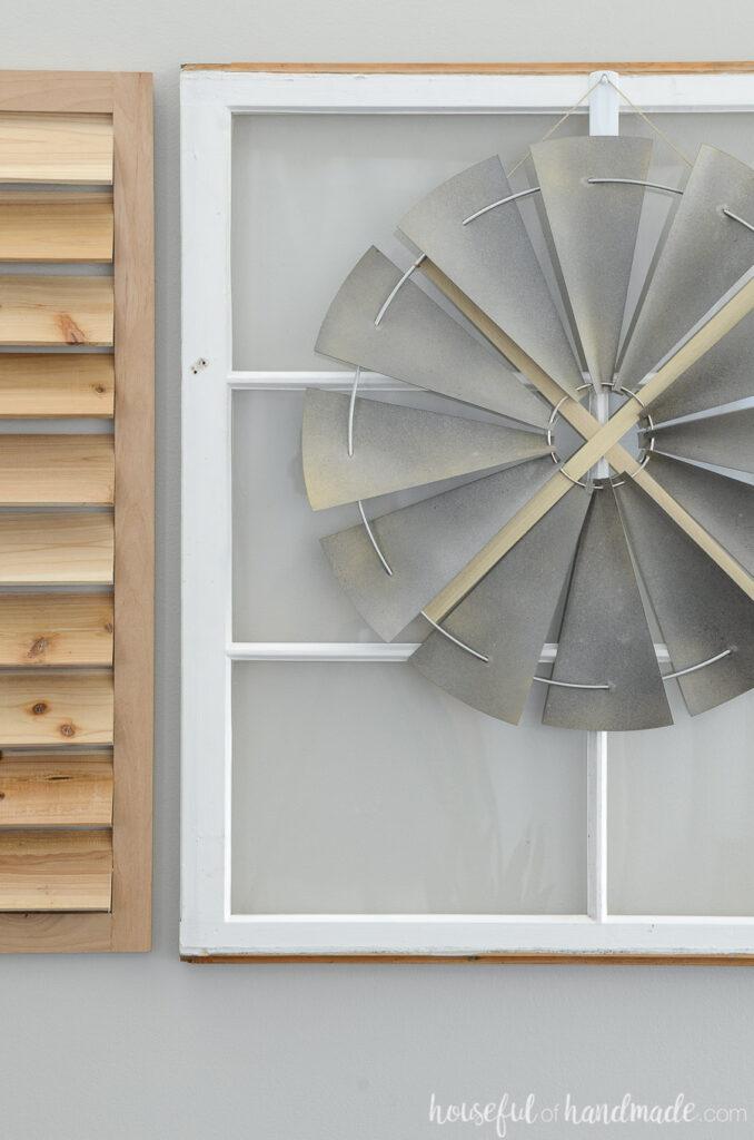diy windmill decor on old window
