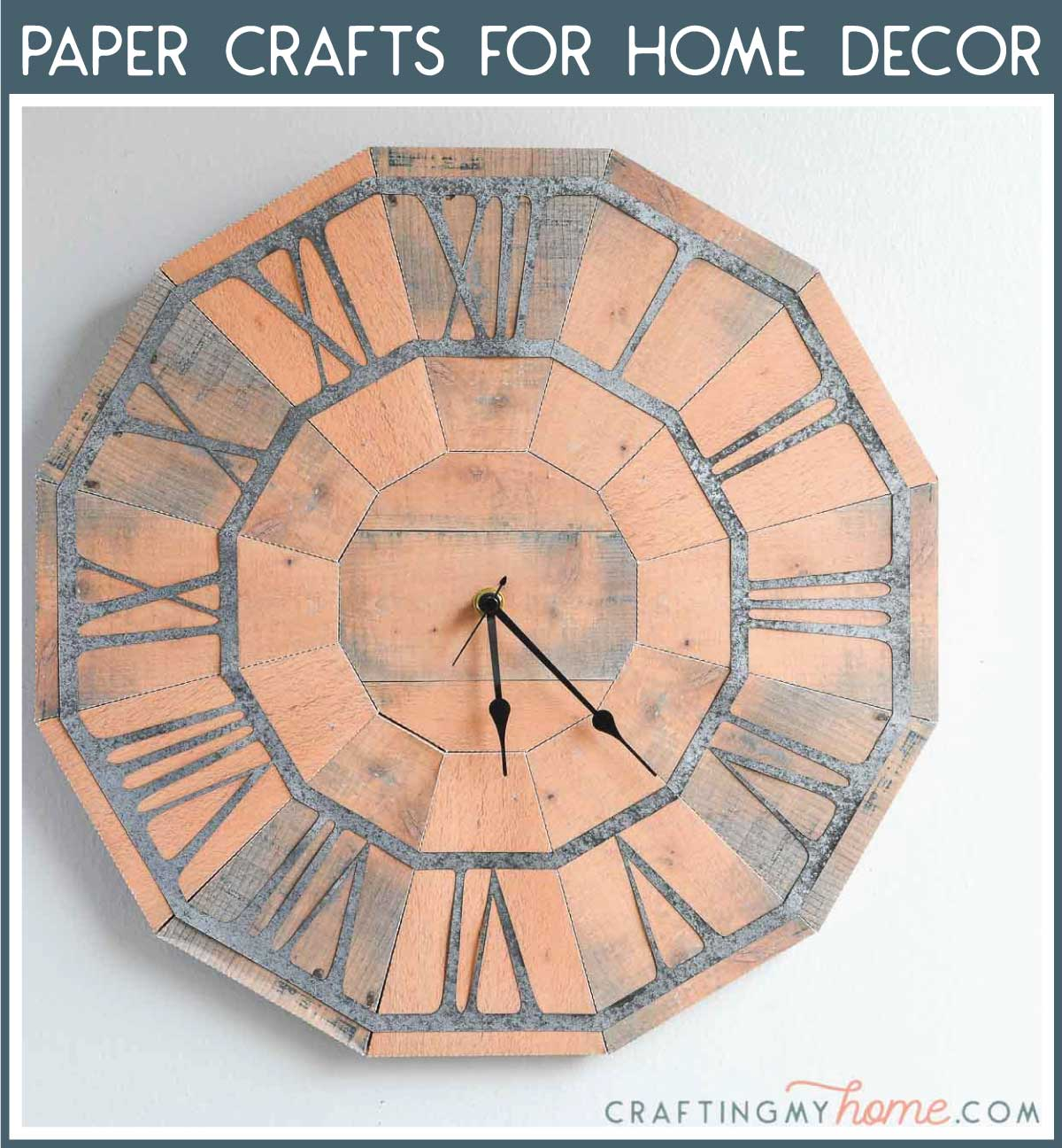 3D working clock made from paper with a navy box around it and white text: Paper Crafts for Home Decor.