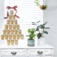 Advent Calendar in the shape of a tree on a credenza next to house plants.