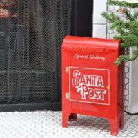 Shiny red Santa Mailbox DIY made from 2 cereal boxes!