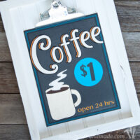 Printable Vintage Inspired Coffee Signs on rustic clipboard