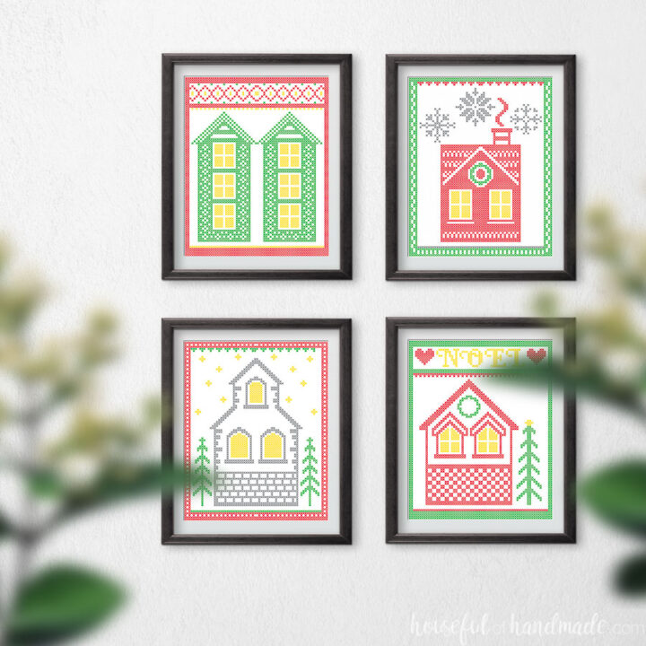 Four printable Christmas art prints that look cross-stitched houses.