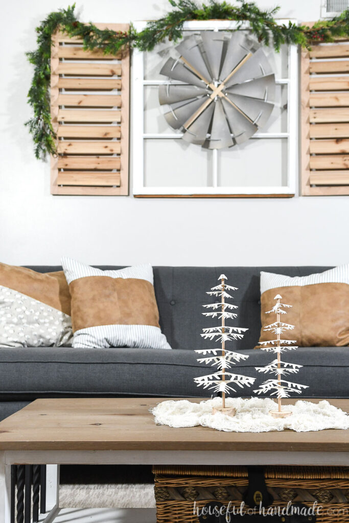 paper christmas trees set of 2 on coffee table in front of couch