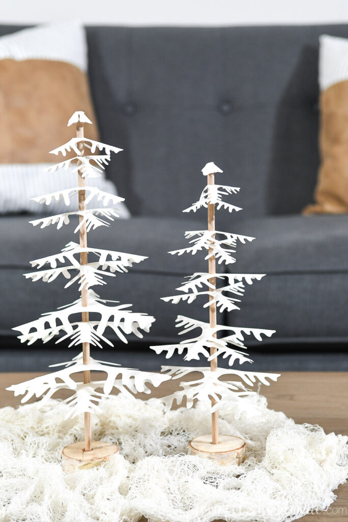 set of 2 decorative paper christmas trees close up