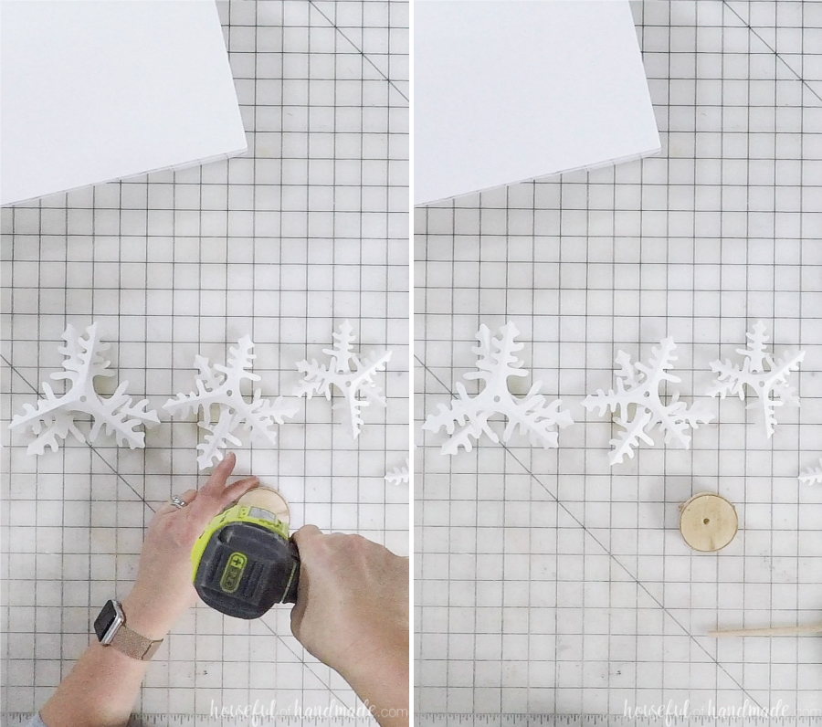 using drill to assemble decorative paper christmas trees