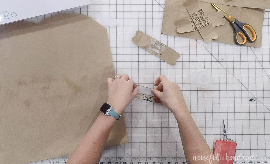 paper bag cut out for diy thankful napkin rings