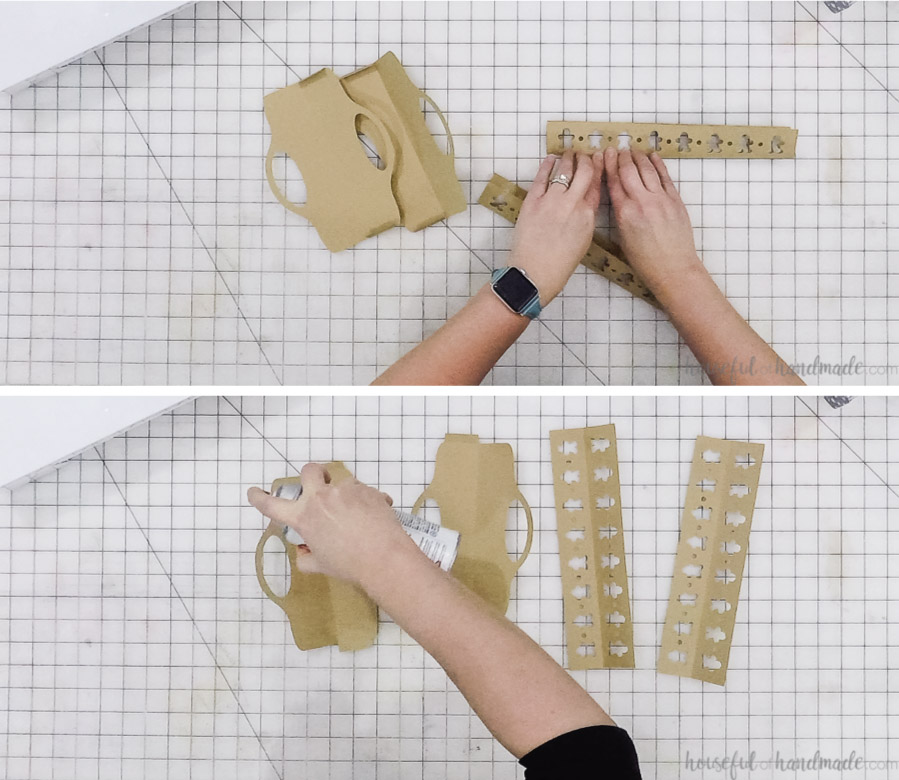 assembling the paper cookie trays on table