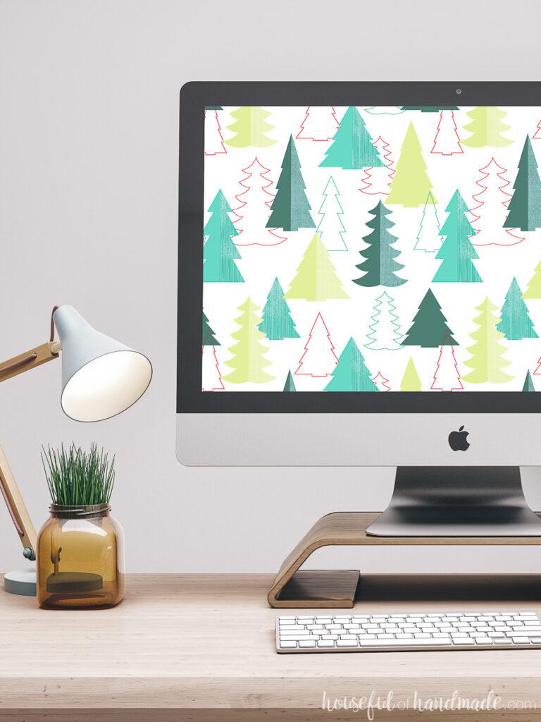 Free Christmas digital wallpaper on the computer screen.