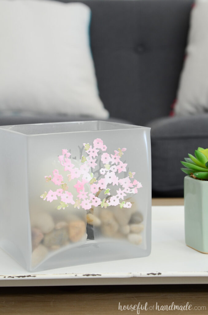 spring glass candle holder on table