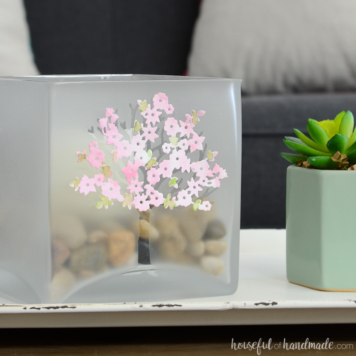 spring candle holder with pink flowers