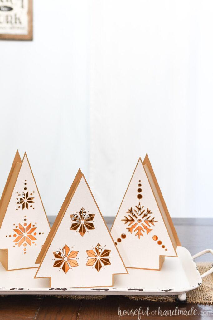 set of 3 nordic christmas tree paper lanterns