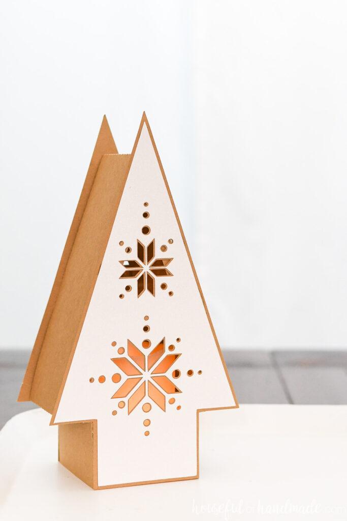 single paper nordic christmas tree lantern
