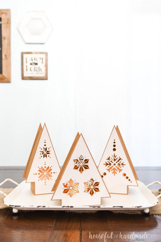 set of 3 nordic christmas tree paper lanterns on tray