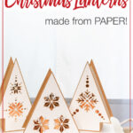 Picture of the handmade Christmas lanterns with text overlay.