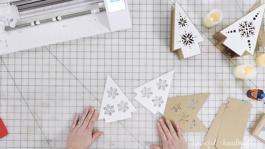 assembling nordic christmas tree paper lanterns