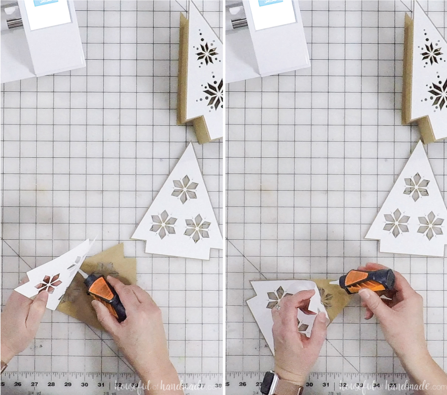 split screen of nordic christmas tree paper lanterns being assembled