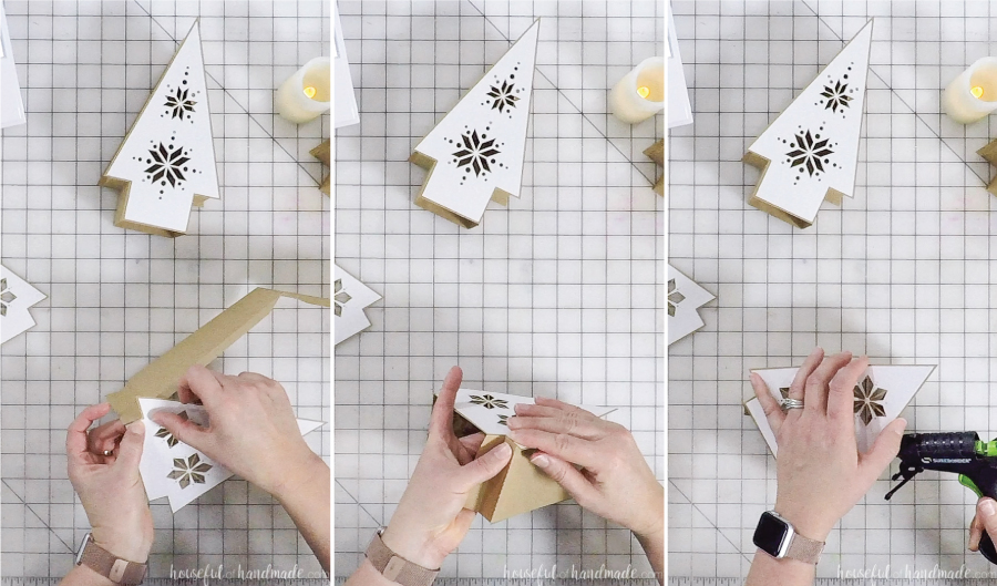 3 images of assembling nordic christmas tree paper lanterns