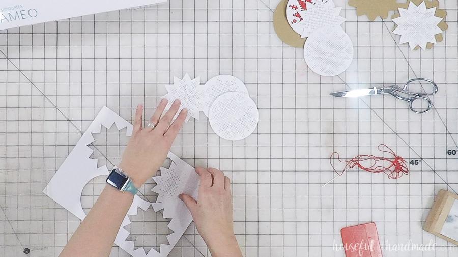 cut out paper nordic cross stitch ornaments