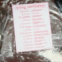 Printable baking substitutions chart on a table surrounded by flour.