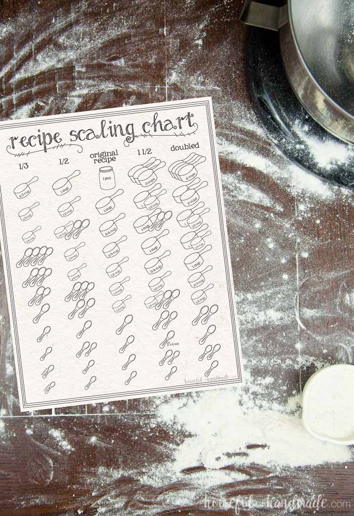 printable scaling chart on counter with flour