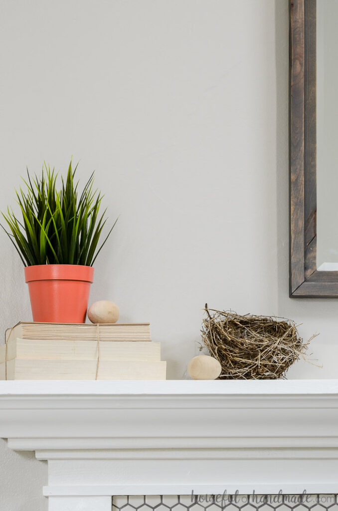 plant in on on books with nest on spring mantel
