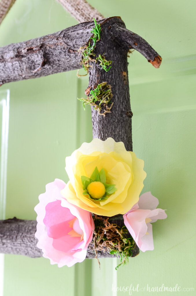side view of spring flower wreath with paper flowers