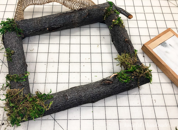 tree branch frame with moss