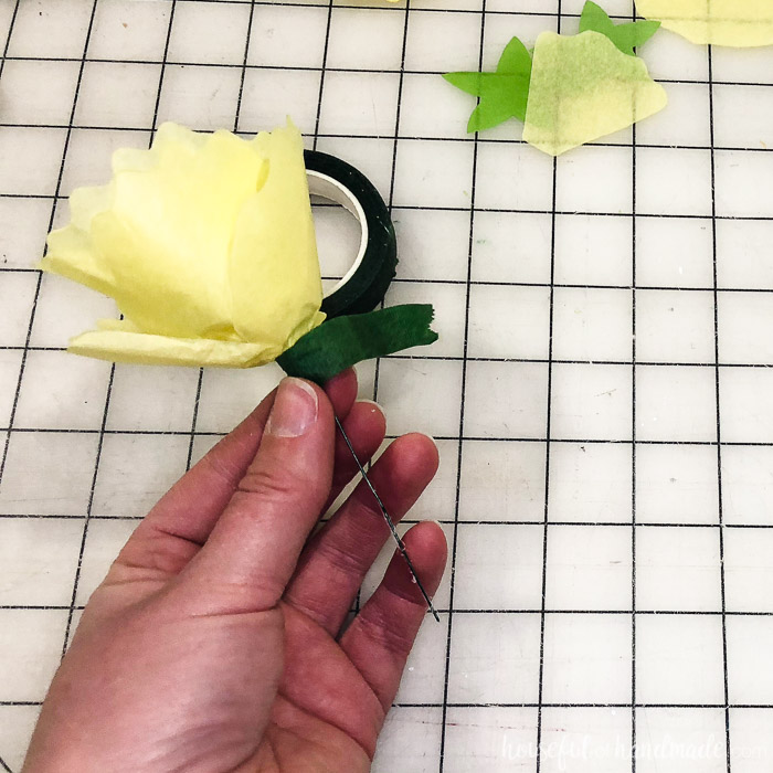 tissue paper flower with wire and floral tape